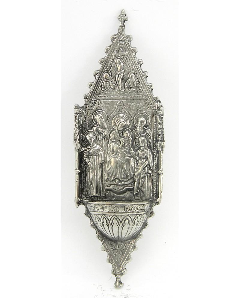 Acquasantiera madonna santa, in peltro