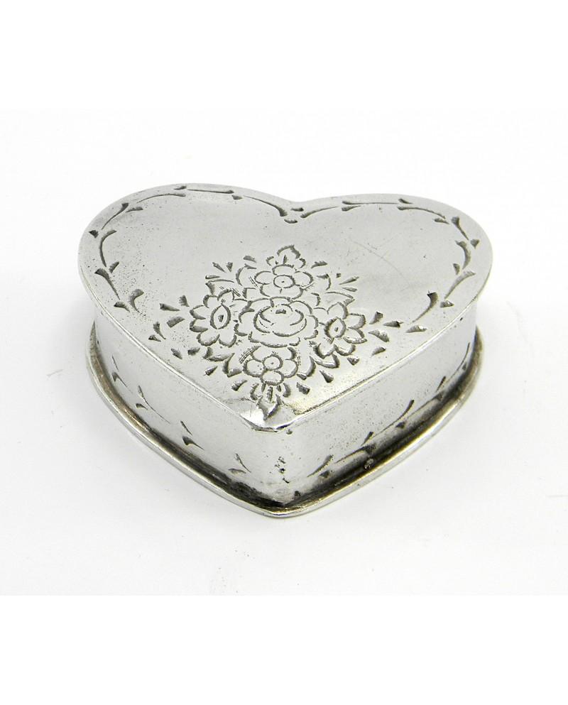 Scatolina peltro cuore punterellata 7 x7 cm