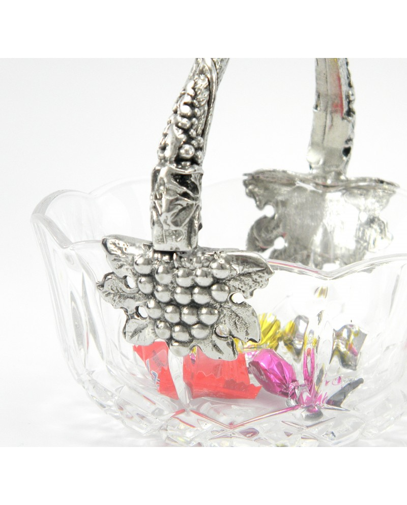 Small basket handle grapes in pewter