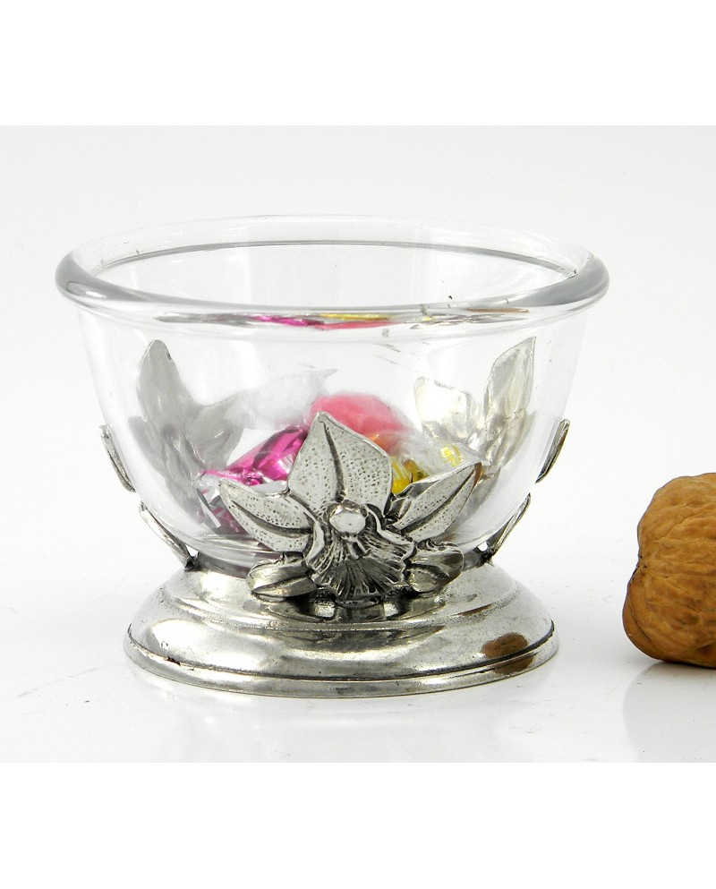 Orchid small bowl, pewter