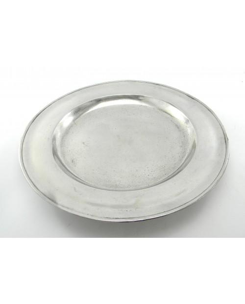 Mat glatte Zinn, Perlen Spitze   d. 34 cm