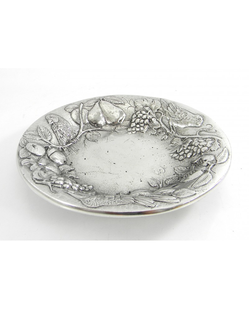 Round and pomegranate fruit bowl in pewter   Diameter 17.5 cm 3 cm