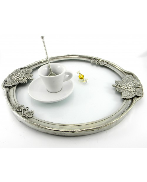 Round Tray, mittel, Zinn und Glas