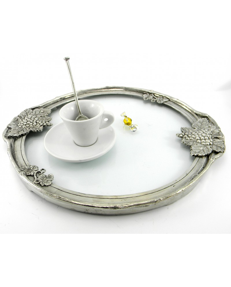 Round Tray, medium, pewter and glass