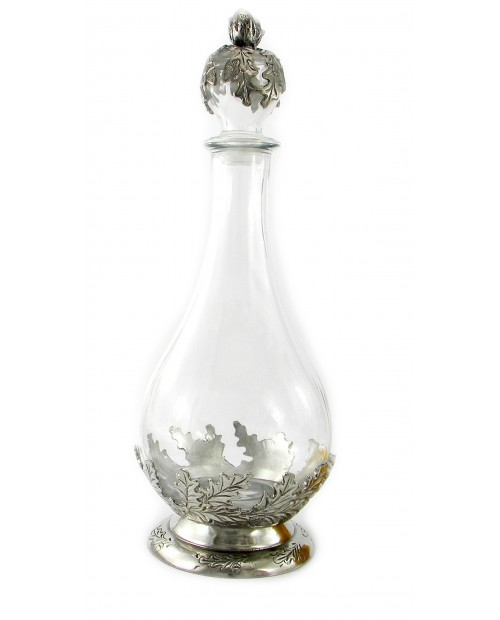 Pewter and glass acorn bottle. Bottle design for wine and water Elegant object produced in Italy