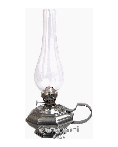 Achteckige Lampe aus Zinn