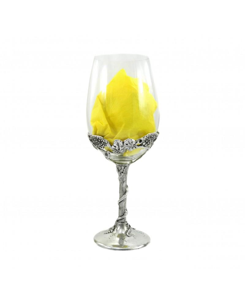 Bicchiere, grande, vino ,bombato, in peltro
