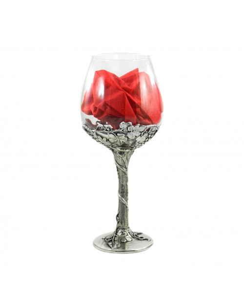 Glass and pewter goblet. Glass for red wine, 780 cc / 26 oz Made in Italy, Cavagnini