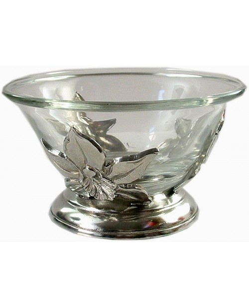 Large pewter bowl orchid
