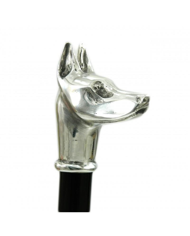 Elegante bastón, asa de perro Alano. Artesanía cavagnini