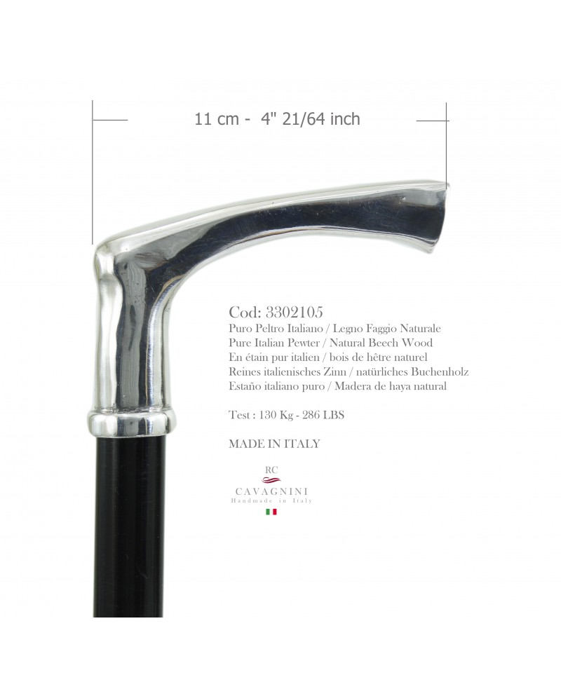 Elderly walking stick pewter and wood handle elegant orthopedic customizable hand made Italy CAVAGNINI