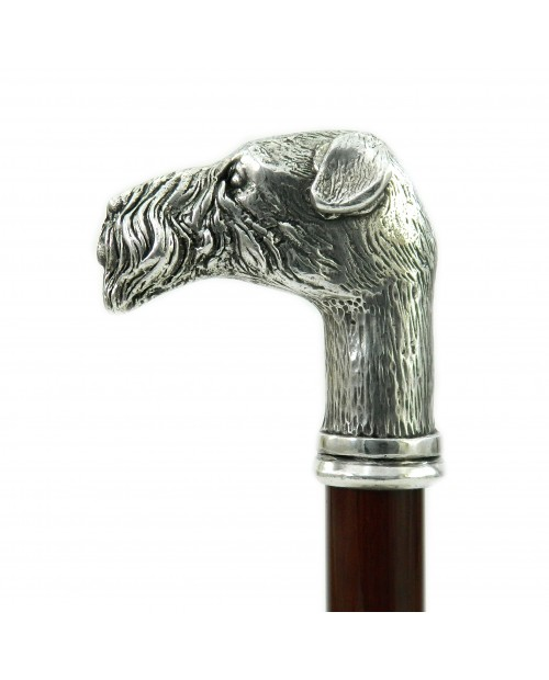 Walking sticks in elegant and solid wood, customizable spare rubbers, fool terrier dog knob Cavagnini