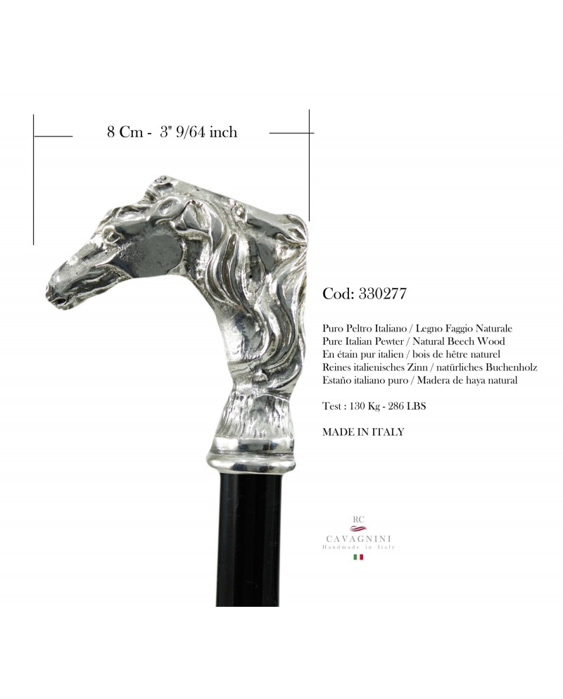 Walking stick for women, elegant and robust. Horse knob, Customizable Cavagnini