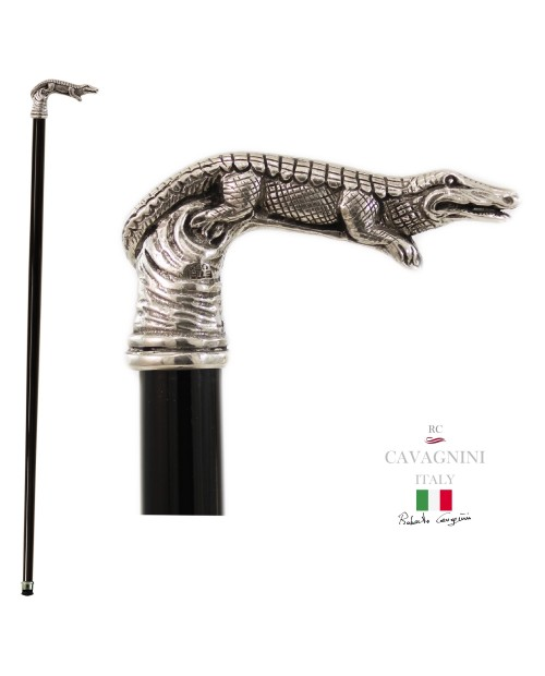 Walking stick, pewter, black wooden crocodile vintage customizable for men Cavagnini handmade in Italy