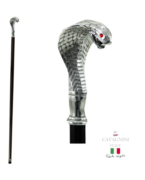 Walking canes for women. Elegant cane Cobra, customizable Cavagnini