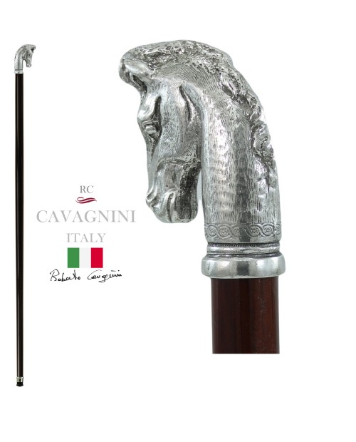 Walking stick, horse head, for men and women, resistant and customizable Cavagnini