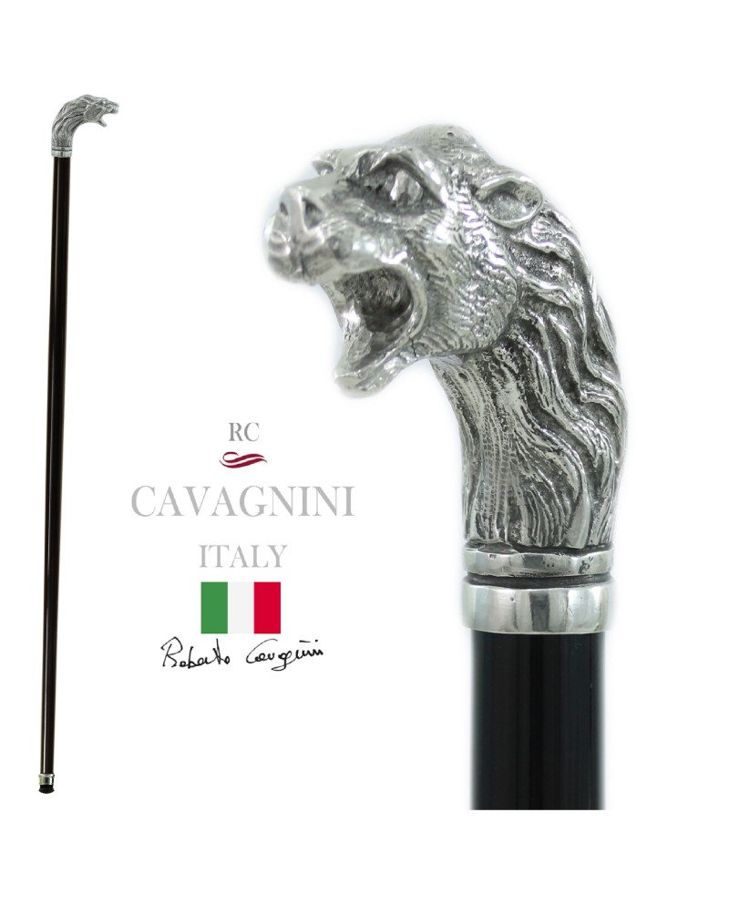 Lion head walking stick, elegant and robust, in solid metal. customizable length, initials engraving