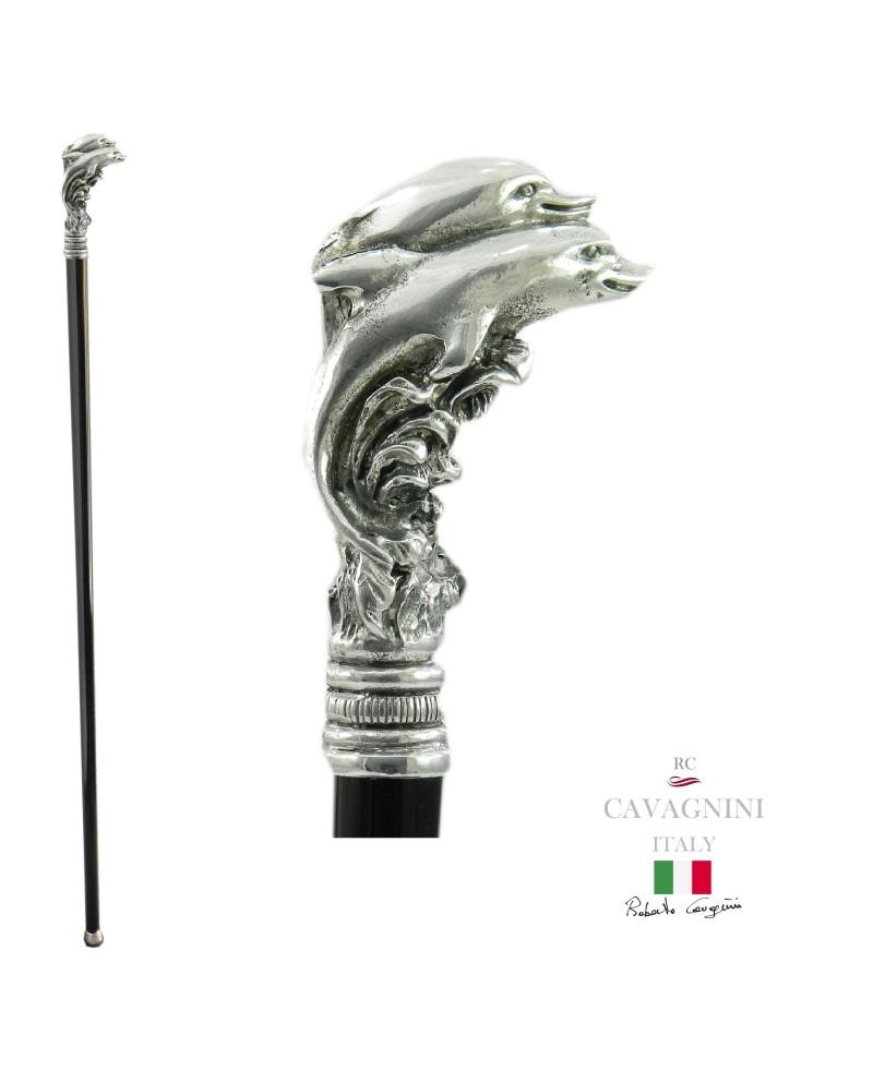 Bastón con delfines, elegante y robusto, de metal macizo. longitud personalizable, grabado de iniciales