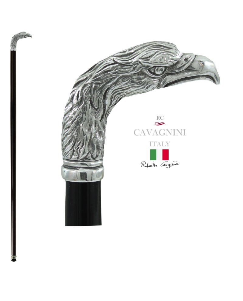 Black friday walking stick, evil eagle knob. Elegant and robust Christmas gift for men and women