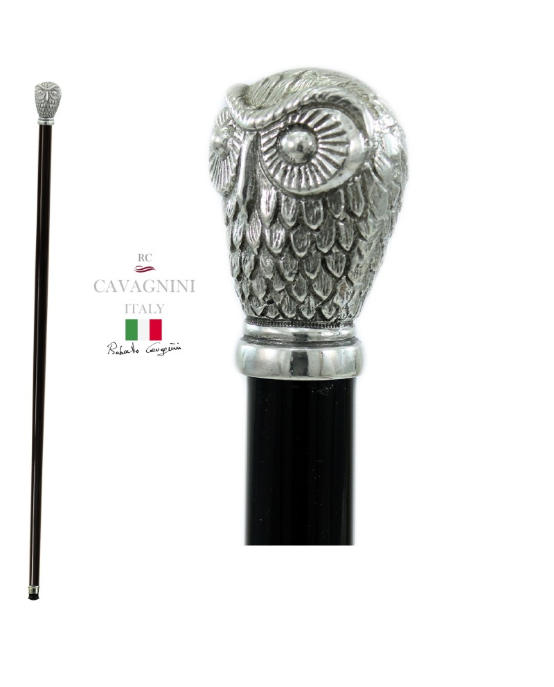 Walking sticks for the elderly in pewter and wood. Resistant and customizable Cavagnini. Owl knob
