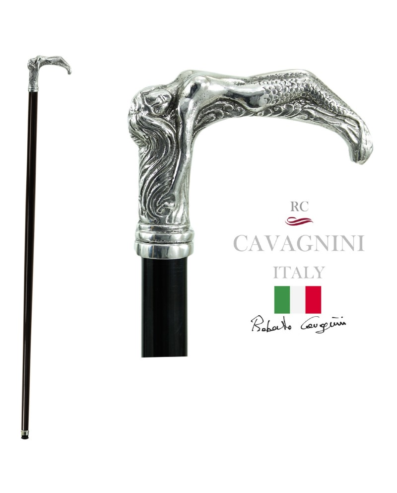 Cavagnini elegant walking stick for elderly. Personalized in solid wood, mermaid knob