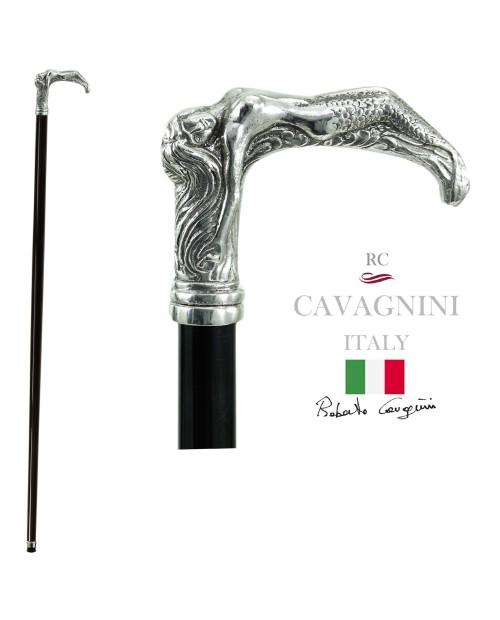 Elegante bastón Cavagnini para personas mayores. Personalizado en madera maciza, pomo sirena