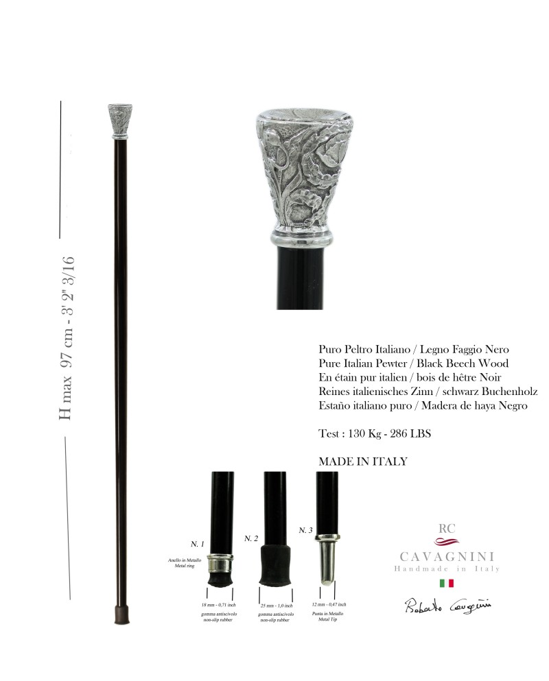 Gehstock, Löwenknopf. Anpassbare. Stick für Frauen und Männer. Hergestellt in Italien