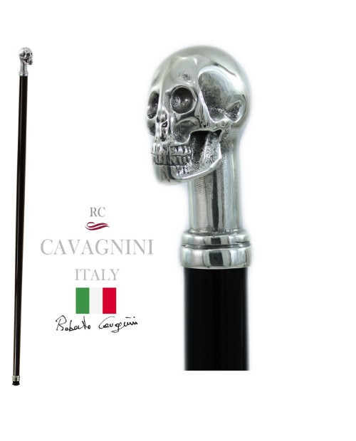 Walking stick Skull for men and women, elegant, handmade in wood, Cavagnini Italy