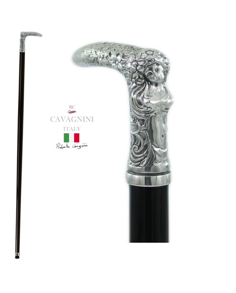 Walking sticks for the elderly in pewter and wood. Resistant and customizable Cavagnini. Woman knob