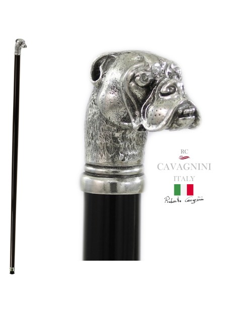 Walking stick, Christmas gift, Bulldog dog. Customizable length, final tip. Cavagnini