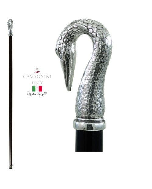 Walking stick for men and women. Swan long neck, Christmas present. Cavagnini