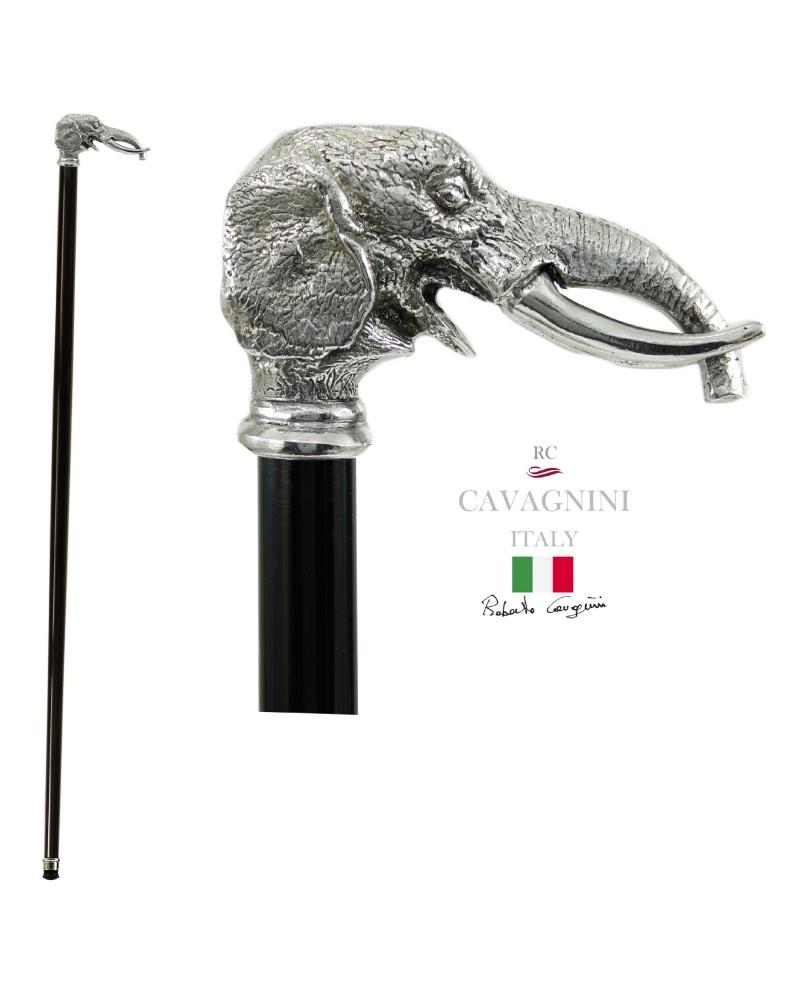 Bastone passeggio in peltro, elefante
