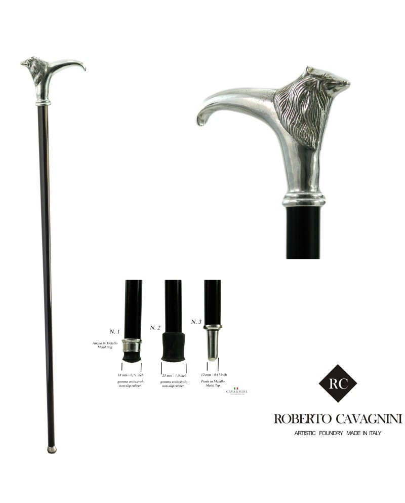 New walking sticks for women, derby with wolf, handmade by Cavagnini