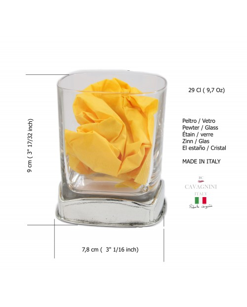 9 3/4 oz - Square glass, cognac, pewter and glass