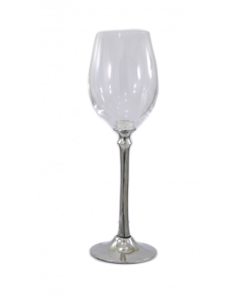 Glass long stem, wine, pewter