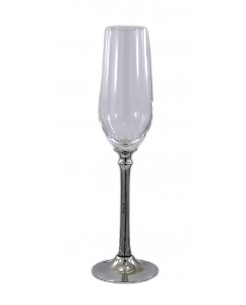 Glass long stem, flute, Pewter