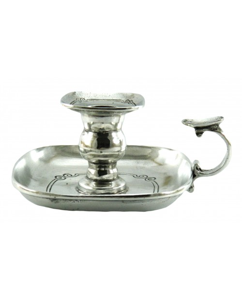 square pewter table candle holder for elegant gift, Cavagnini