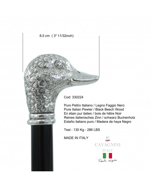 Elderly cane in wood and elegant pewter duck for man and lady ceremony made in Italy Cavagnini