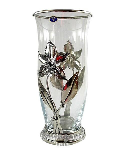 Vase orquídea peltre grande,