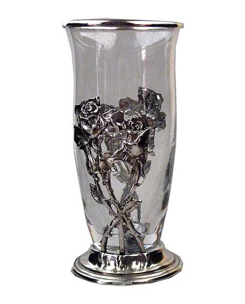 Vase, roses, pewter