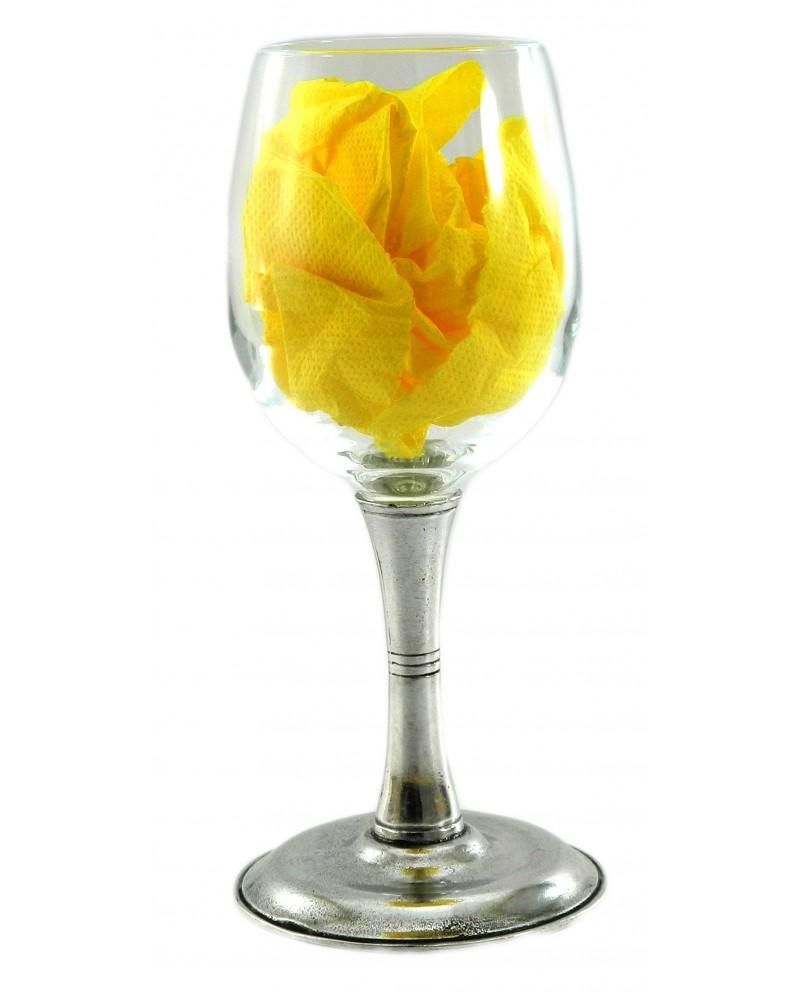 Bicchiere,due righe, vino,in peltro