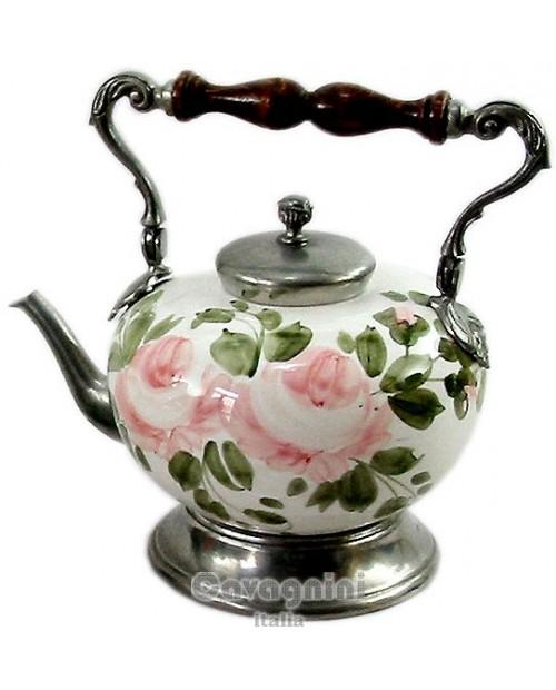 Keramik Teekanne pink / blau