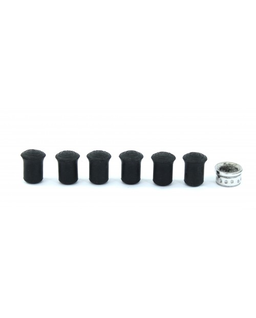 Replacement rubber tips for walking sticks - set of 6 10 mm + 1 pewter ring