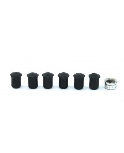 Gommini di ricambio per bastoni da passeggio - set 6 gommini a cappuccio 10 mm