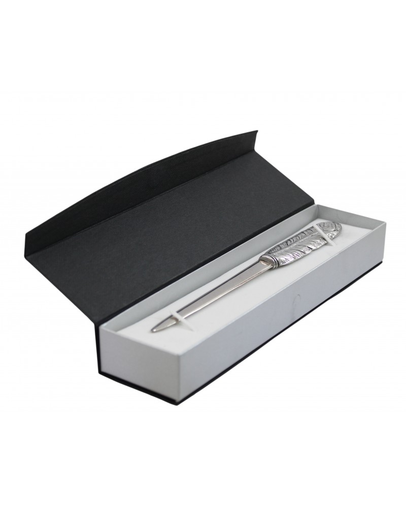 Feather letter opener, in pewter and stainless steel, elegant classy gift