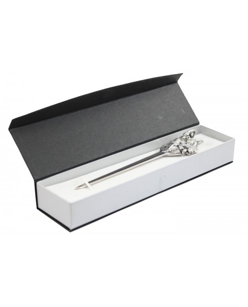 Wolf letter opener, in pewter and stainless steel, elegant classy gift