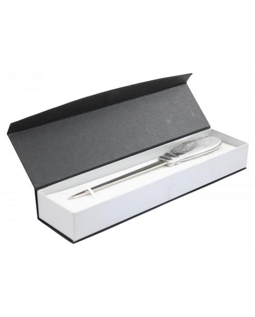 Flacher flacher Brieföffner aus Zinn und Edelstahl, elegantes edles Geschenk