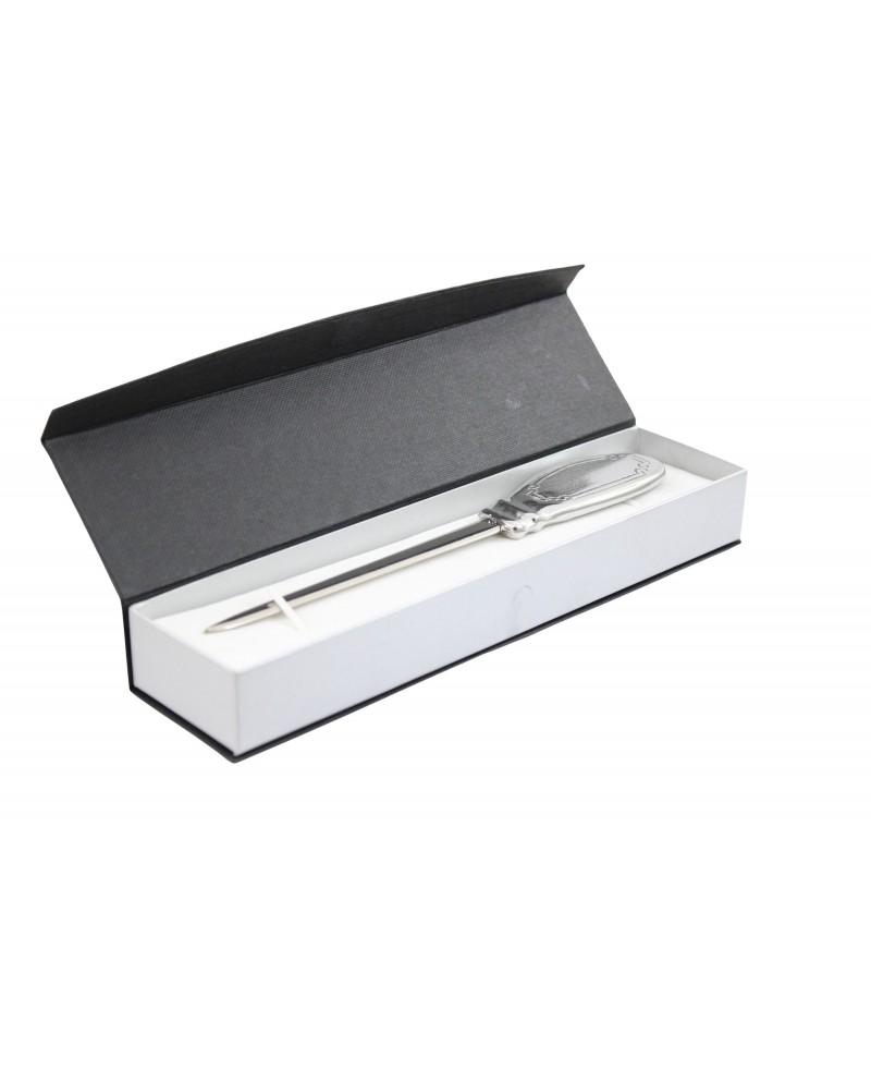 Flacher Brieföffner aus Zinn und Edelstahl, elegantes edles Geschenk