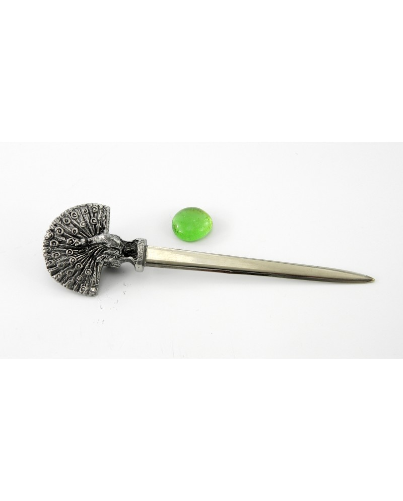 Tagliacarte pavone, in peltro e acciaio inox, elegante regalo di classe