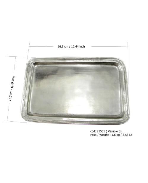 """Rechteckige Schale aus Zinn ARG 26,5 x 17,5 cm / 6 """"7/8 x 10"""" 1/2 Zoll"""